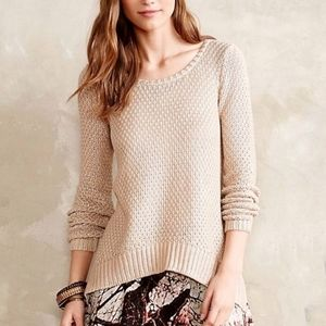 Anthropologie Moth Metallic Shimmer Stitch Sweater